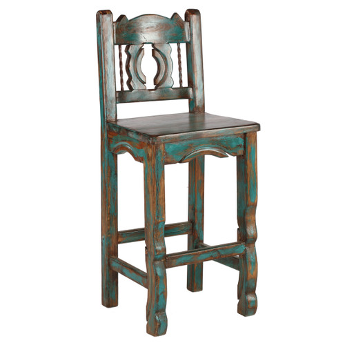 Native Turquoise Western Barstool - 24 Inch