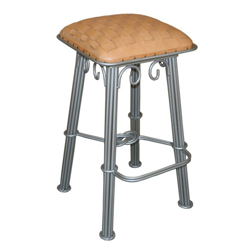 Western Iron Barstool, Natural Braided Leather, Silver Iron