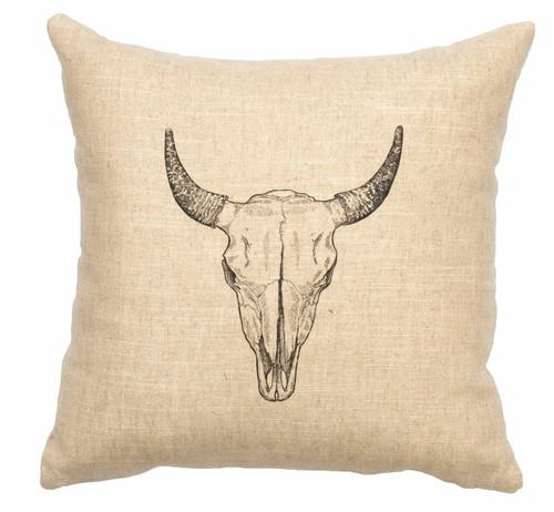Natural Bull Skull Pillow