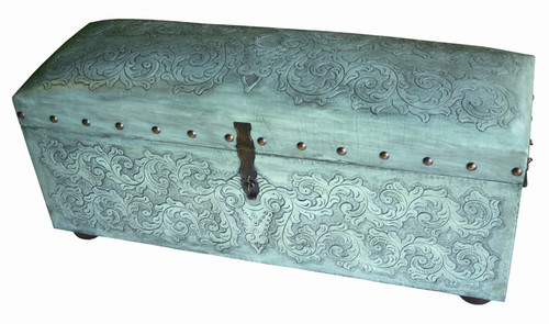 Jumbo Colonial Trunk Bench - Turquoise
