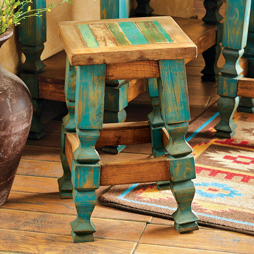 Old Wood Turquoise Barstool - 24 Inch