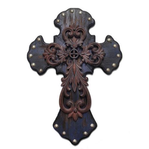 Ornate Distressed Blue & Metal Cross