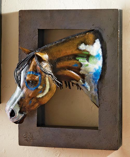Painted Warrior Horse 3-D Wall Sculpture - Left Facing