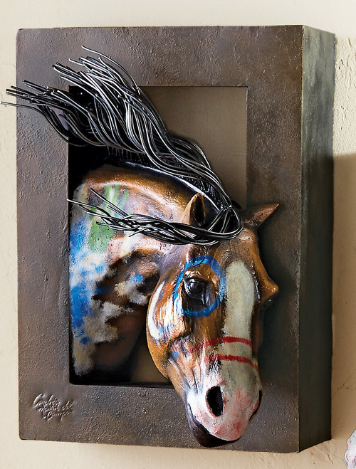 Painted Warrior Horse 3-D Wall Sculpture - Right Facing