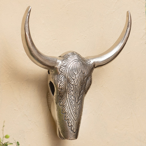 Polished Nickel Metal Bull Skull