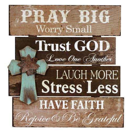 Pray Big Turquoise Cross Wood Wall Sign