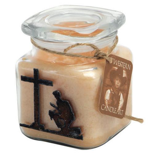 Praying Cowboy Candle Art Jar