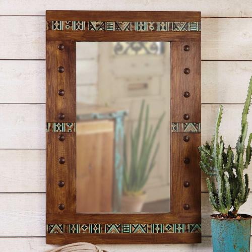 Pueblo Tooled Leather Mirror