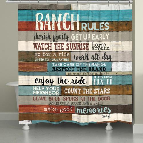 Ranch Commandments Shower Curtain - Bold