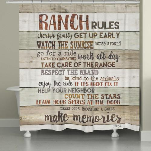 Ranch Commandments Shower Curtain - Neutral