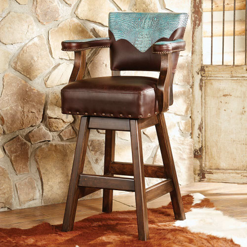 Ranchero Turquoise and Brown Leather Barstool