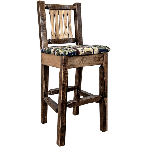 Ranchman's Barstool with Back, Woodland Upholstered Seat, Stain & Clear Lacquer Finish