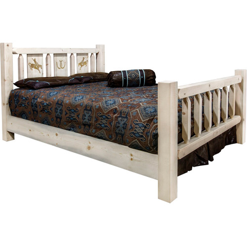 Ranchman's Bed with Laser-Engraved Bronc Design - Full