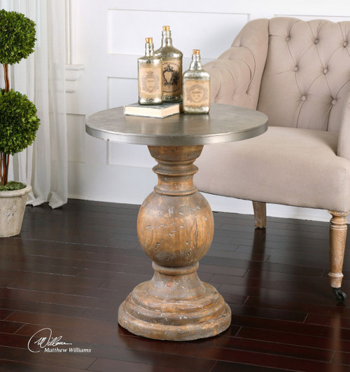 Reclaimed Wood Accent Table with Aluminum Top