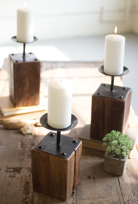 Reclaimed Wood Candle Holders - Set of 3