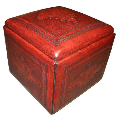 Red Box Ottoman with Fleur De Lys Tooled Leather