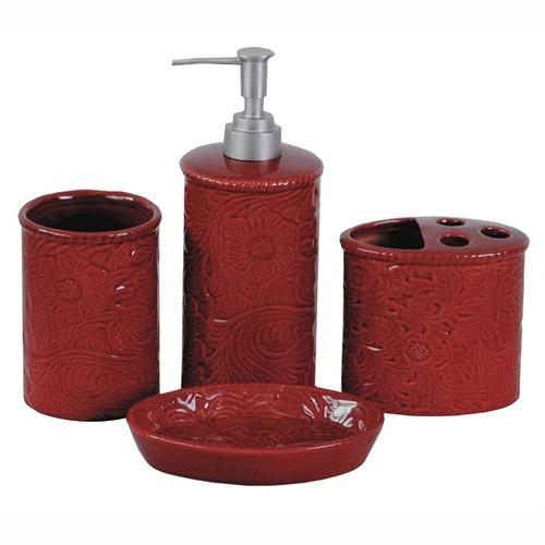 Red Tooled Ceramic Bath Set - 4 pcs