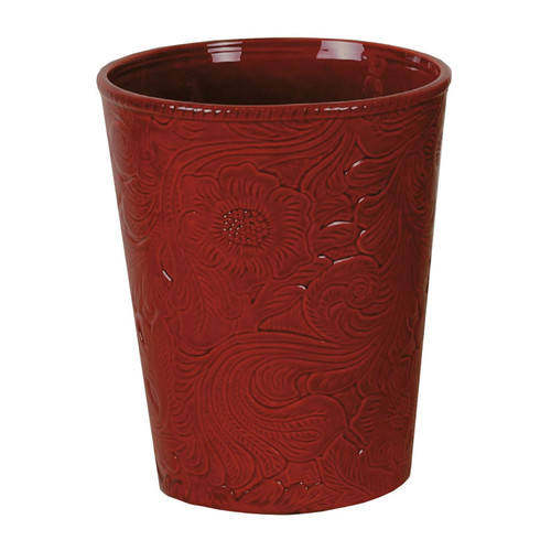 Red Tooled Ceramic Waste Basket - OUT OF STOCK UNTIL 11/5/2021