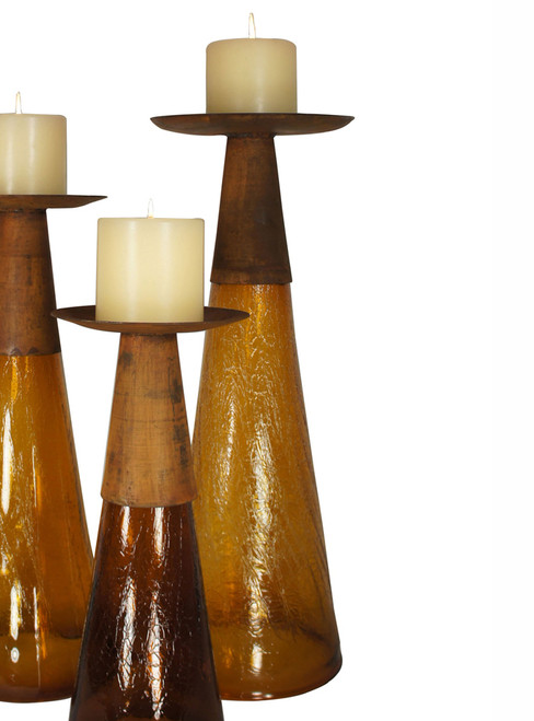 Reversible Candle Holder / Vase with Crackled Amber Glass and Candle - Large - BACKORDERED UNTIL 12/3/2021