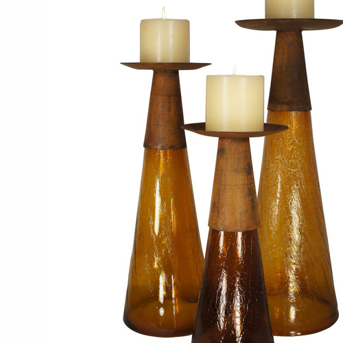 Reversible Candle Holder / Vase with Crackled Amber Glass and Candle - Medium