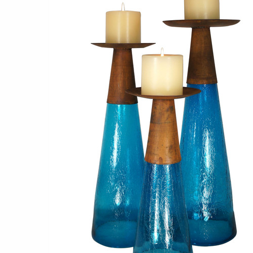 Reversible Candle Holder / Vase with Crackled Turquoise Glass and Candle - Medium