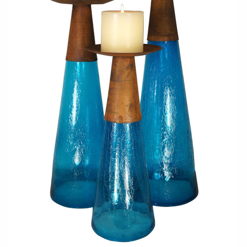 Reversible Candle Holder / Vase with Crackled Turquoise Glass and Candle - Small