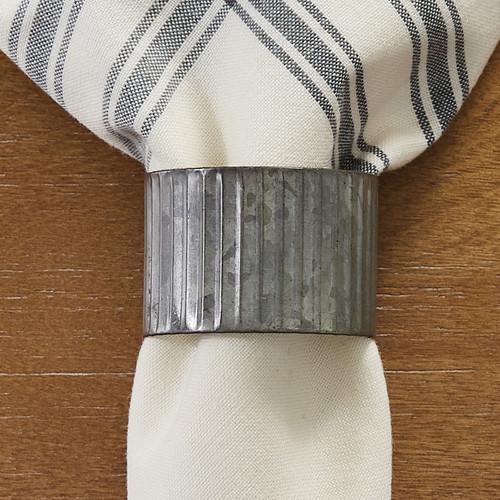 Rippled Galvanized Tin Napkin Rings - Set of 4