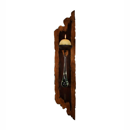 Rough Edge Wall Candle Holder with Candle - Left Facing