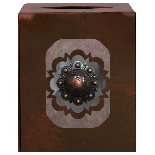 Round Copper Concho Square Tissue Box Cover