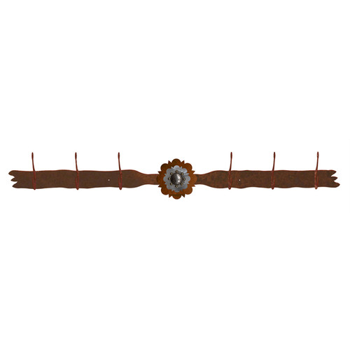 Round Old Silver Berry Concho 6 Hook Coat Rack