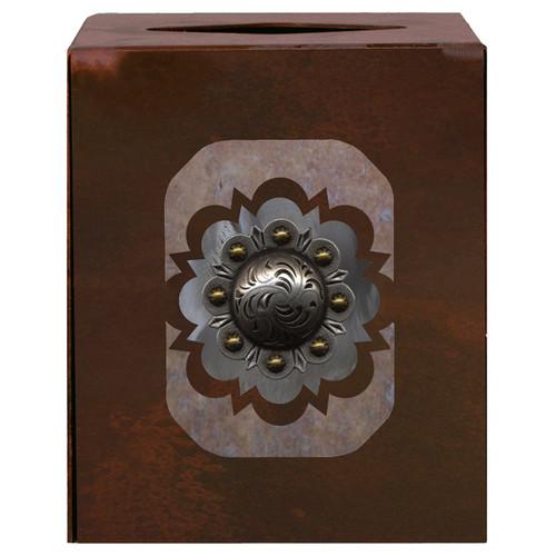 Round Silver Concho Square Tissue Box Cover