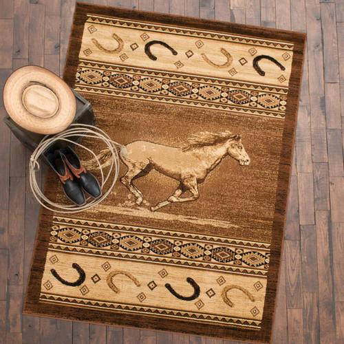 Wild Horse & Horseshoe Rug - 2 x 7