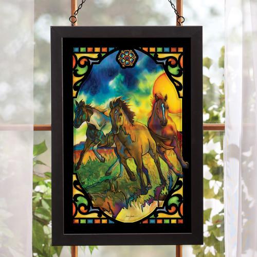 Running Horses Stained Glass Art