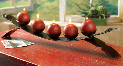Rustic Bench Candle Holder