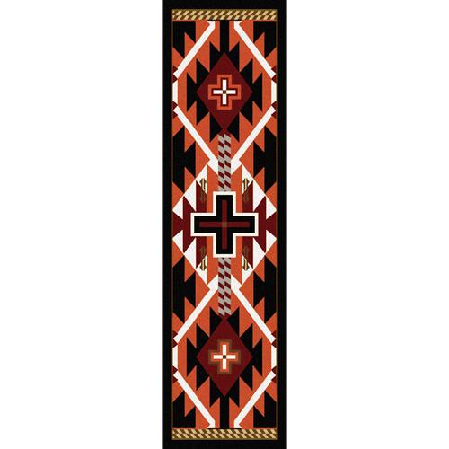 Rustic Cross Black Southwestern Rug - 2 x 8
