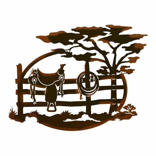 Saddle on Fence Metal Wall Art