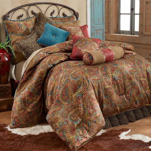 San Angelo Comforter Set with Leopard Bedskirt - King