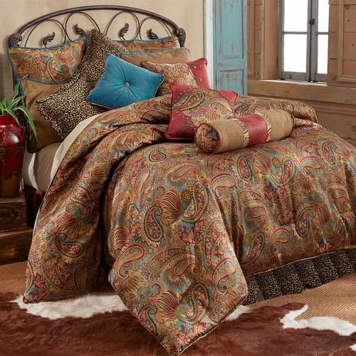 San Angelo Comforter Set with Leopard Bedskirt - Queen