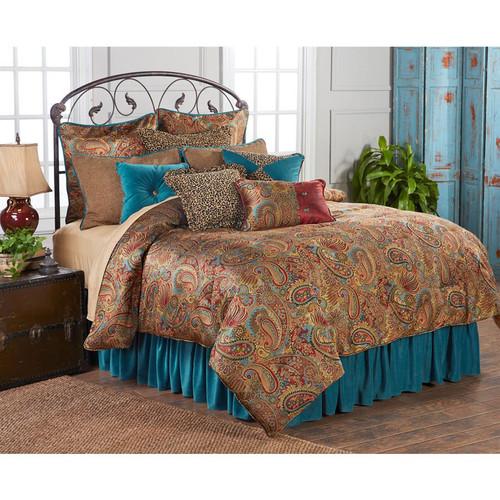 San Angelo Comforter Set with Teal Bedskirt - King