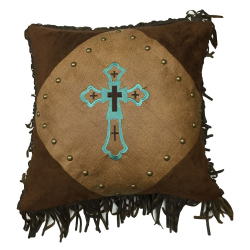 Santa Cruz Turquoise Embroidered Cross Pillow