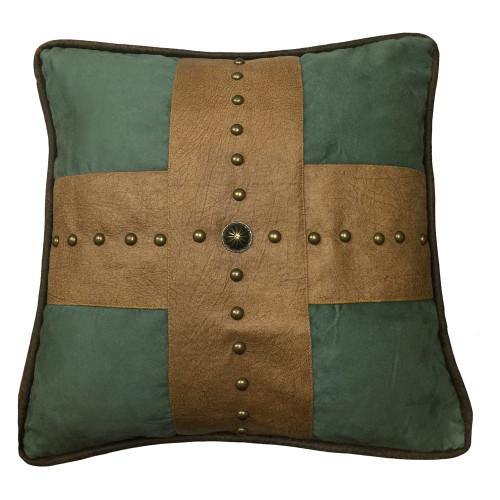 Santa Cruz Turquoise Studded Cross Pillow