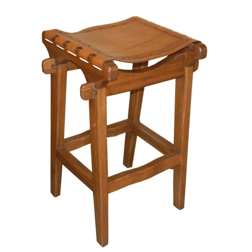 Santa Fe Counterstool, Plain with Nailheads, Rustic Brown