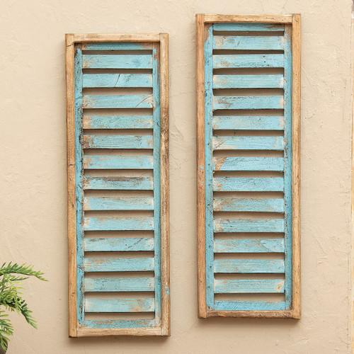 Santa Fe Turquoise Wood Shutters - Set of 2