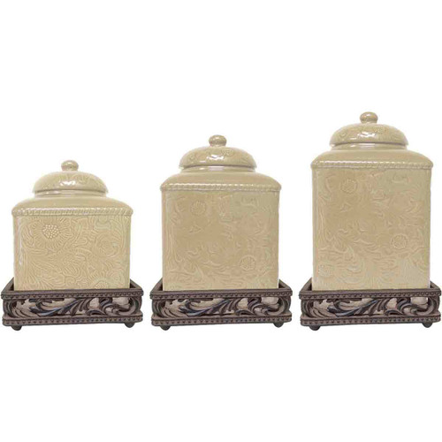 Savannah Cream Canister Set with Base - OUT OF STOCK UNTIL 11/25/2021