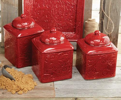 Savannah Red Canister Set - 3 pcs