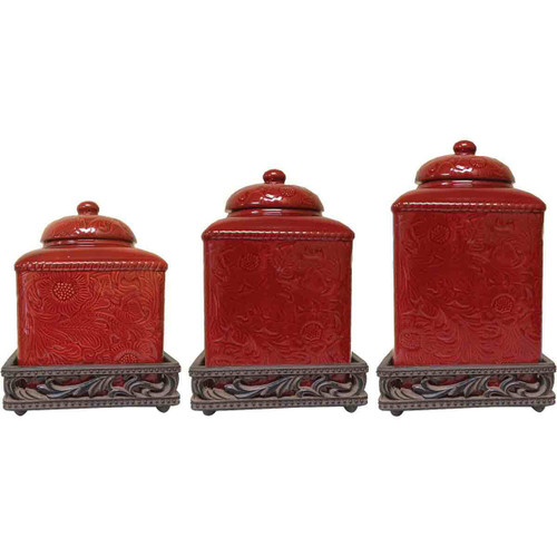 Savannah Red Canister Set with Base