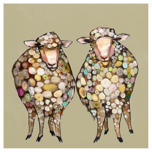 Sheepish Couple Taupe Canvas Art