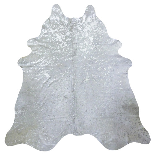 Silver Metallic on White Cowhide - Extra Large