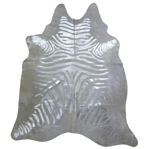 Silver Striped Metallic Zebra Cowhide - Extra Large