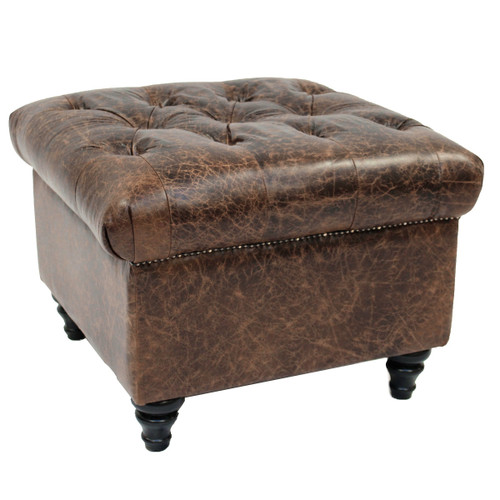 Sitara Leather Ottoman - Cinnamon